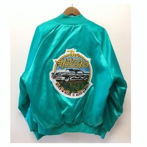 Vtg Satin Bomber Jacket 'The Hubcaps' 50's Style